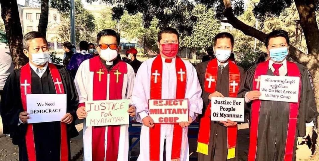 Protest mot militærkuppet i Myanmar